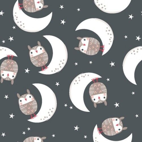 Quilter/'s Palette Good Night Forest 12609 Charcoal Owl Cotton Fabric