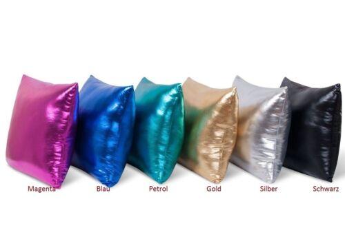 Kissenhülle Modern Hochglanz Metallic uni  verschiedene Farben 40x40 cm NEU