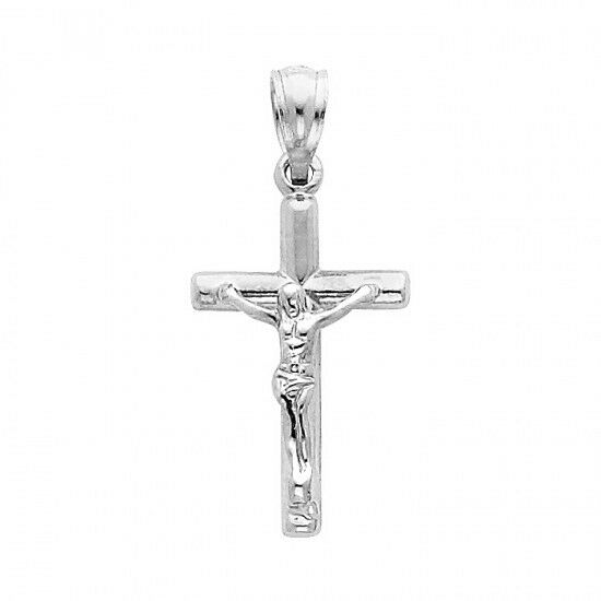Blessed 14K Solid White Gold Jesus Crucifix Religious Cross Charm Pendant