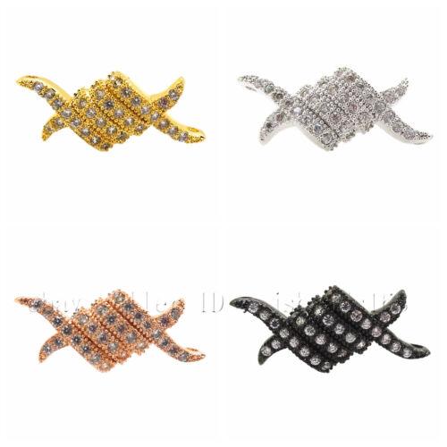 Clair /& Noir Zircone cubique Pave Gemstone mm Braid Bracelet Connector Charm Beads