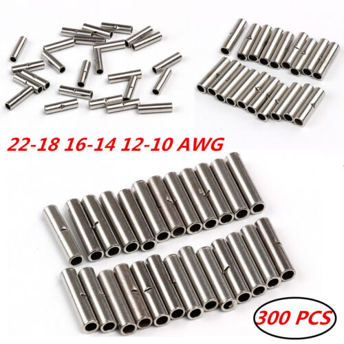 300x Non-insulated 22-18 16-14 12-10 AWG Gauge Terminal Car Wire Butt Connectors