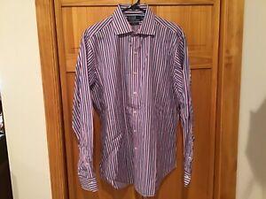 POLO-BY-RALPH-LAUREN-Mens-Shirt-16-1-2-L-Regent-Classic-Blue-Pink-Stripe-NWOT