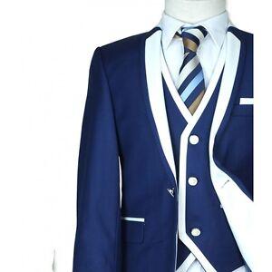 28bbd2189 Designer Boys Dark Blue Communion Suit 3PC Slim Fit Wedding Suits ...