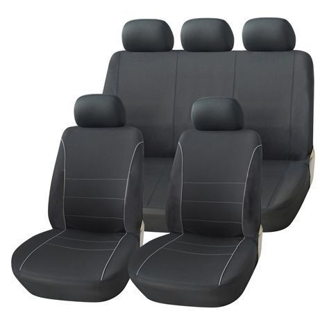 VW Phaeton Negro Fundas De Asiento con gris Tubería