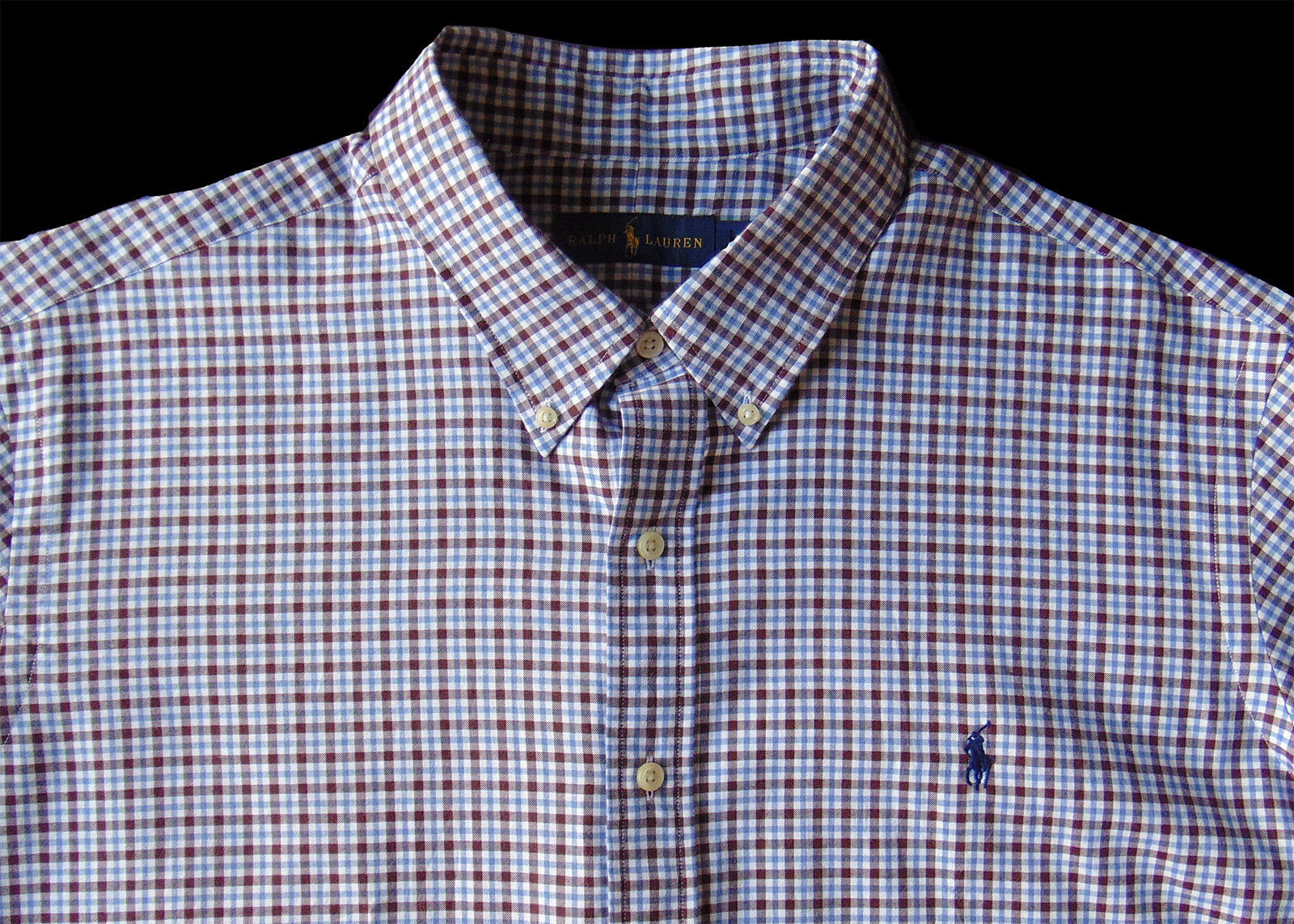 Men's RALPH LAUREN White Brown bluee Plaid Soft Shirt 3XLT 3LT 3XT TALL NWT NEW