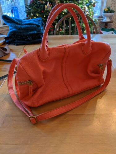 Fossil Erin Satchel Leather Salmon Pink Bag