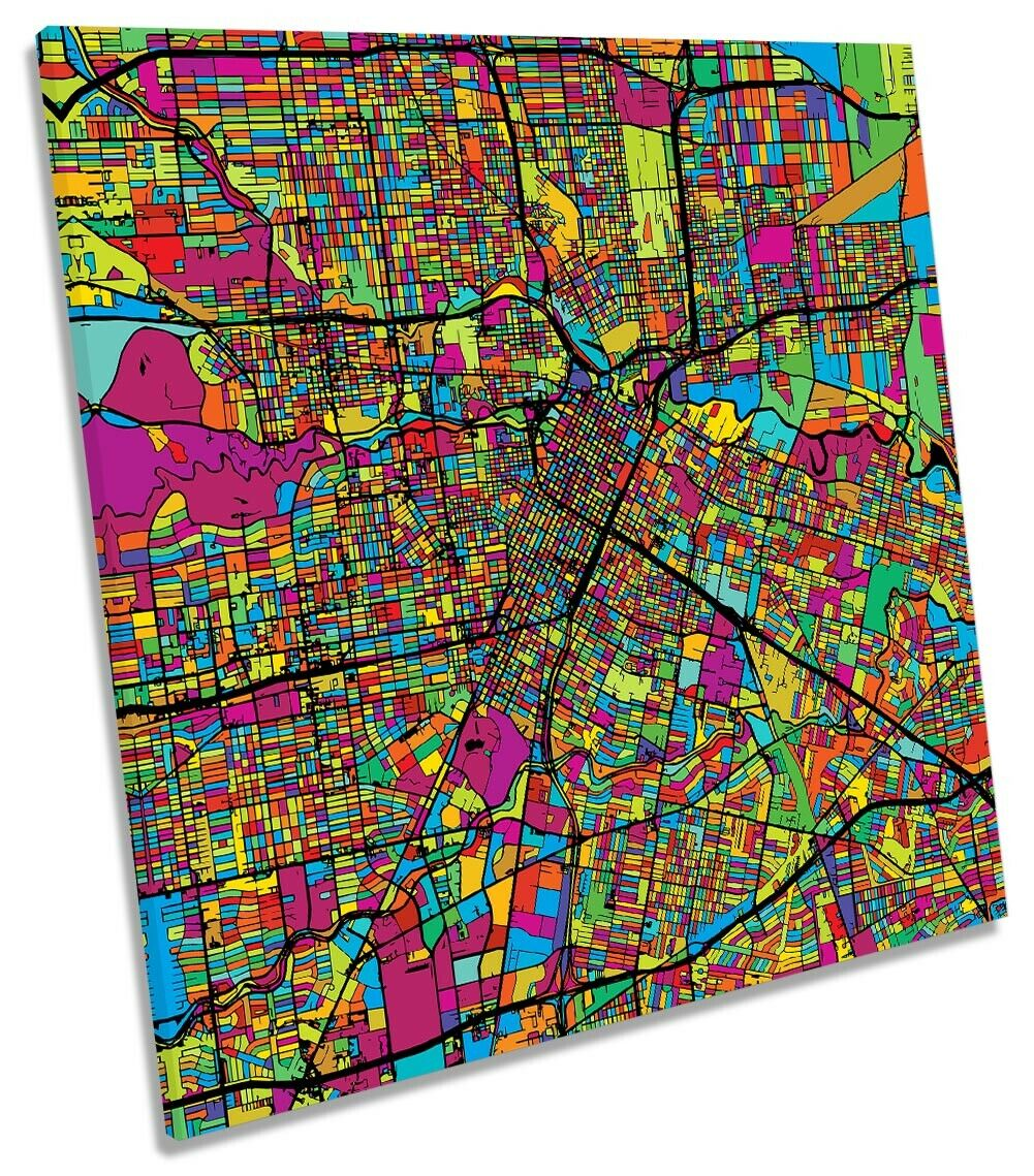 Houston City Modern Map Picture CANVAS WALL ART Square Print Multi-Colourot