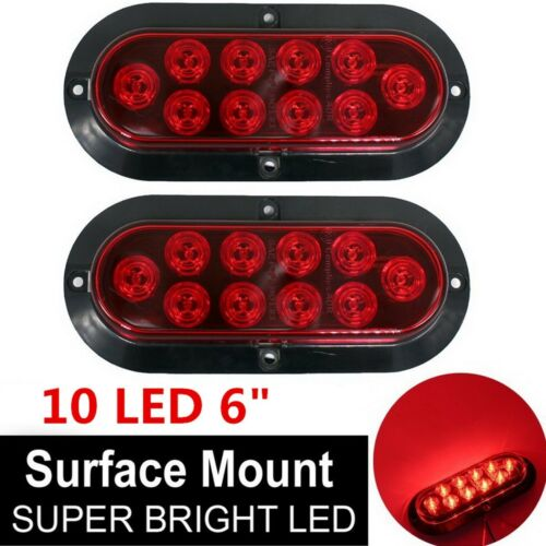 """Red Surface Mount 6/"""" Oval Stop Turn Tail Light for Trailer Truck Sealed 10 LED"""