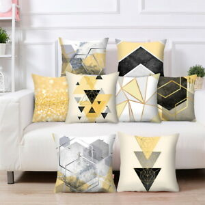 Details About Scandi Boho Geometric Cushion Cover Yellow And Grey Sofa Pillowcase Home Decor