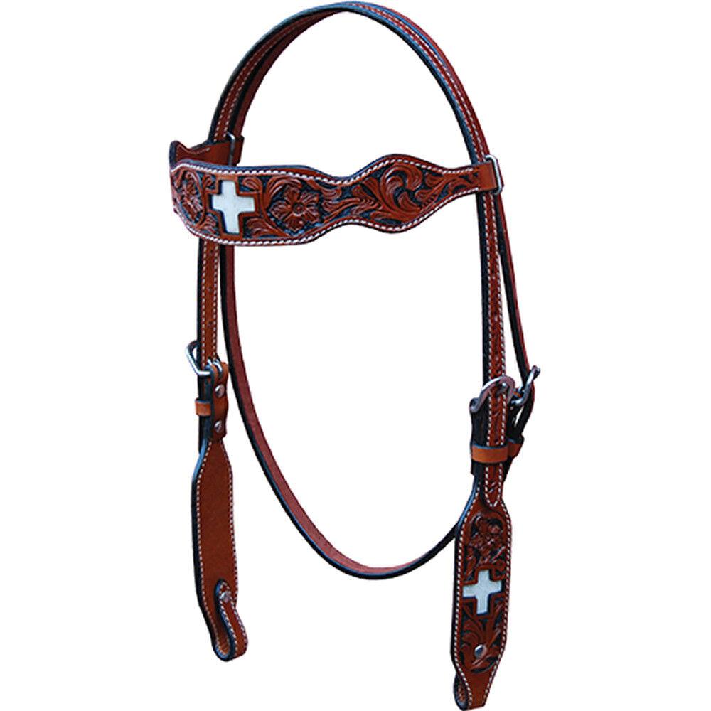 Western talladas a mano de cuero marrón Conjunto de 5 piezas de tachuela