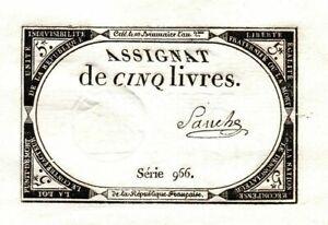 GEM CRISP 1793 FRENCH REVOLUTION 5 POUNDS! DEEP EMBOSSING, FULL MARGINS! CV $125