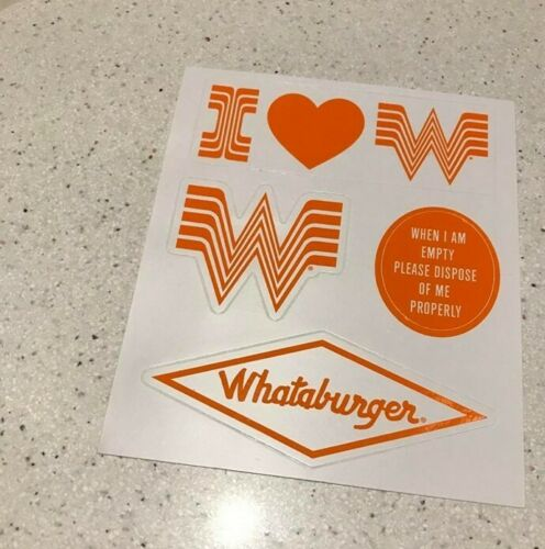 1 Whataburger Vinyl Decals Promotional Item   Sheet  NEW