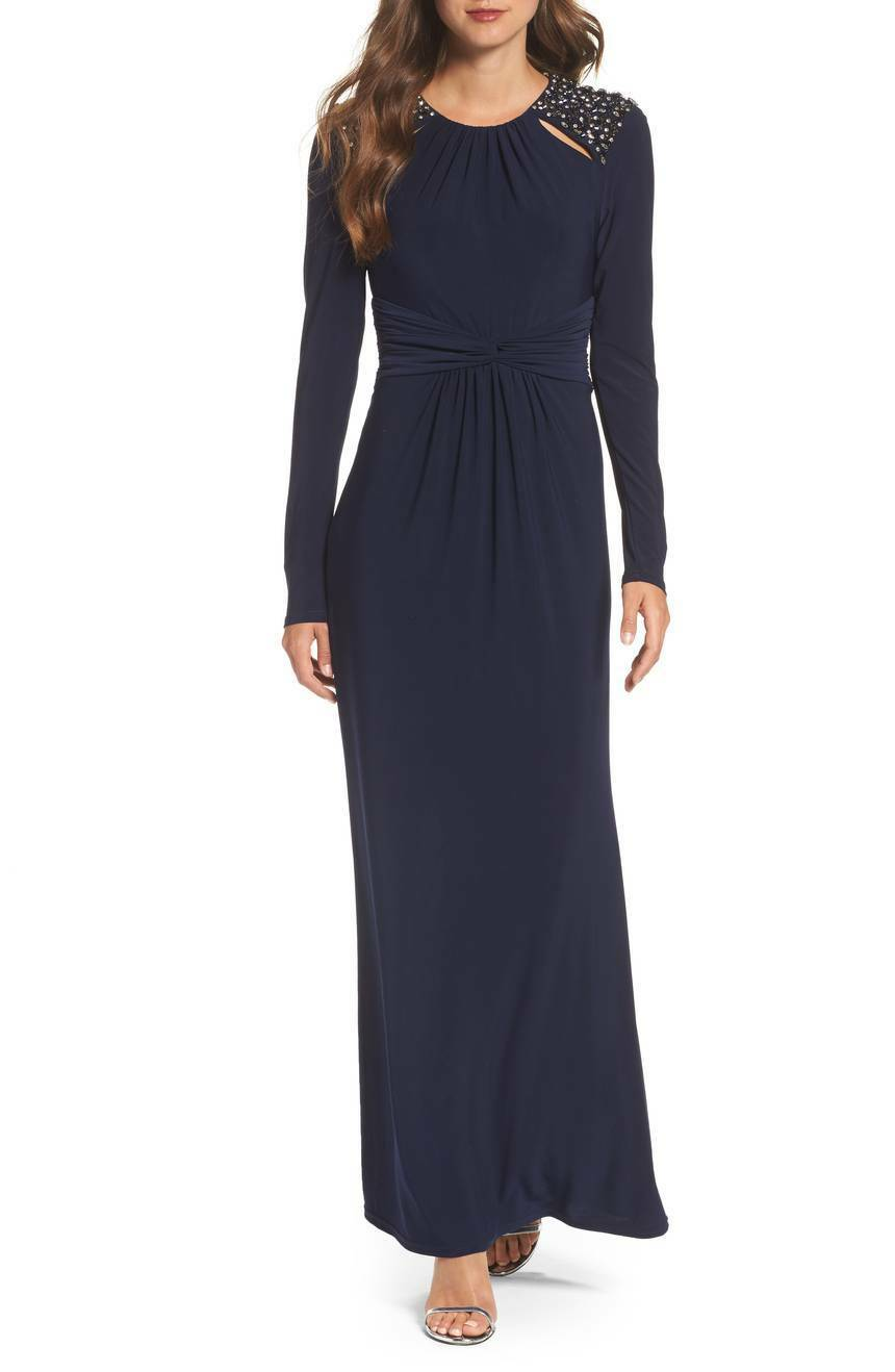 VINCE CAMUTO Navy bluee Beaded Cutout Shoulder Ruched Stretch Waist Jersey Gown 6