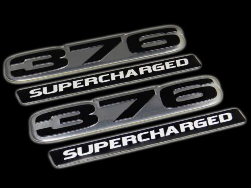 VMS 2 CHEVY 376 CI SUPERCHARGED ENGINE SMALL BLOCK ALUMINUM EMBLEM BLACK SILVER