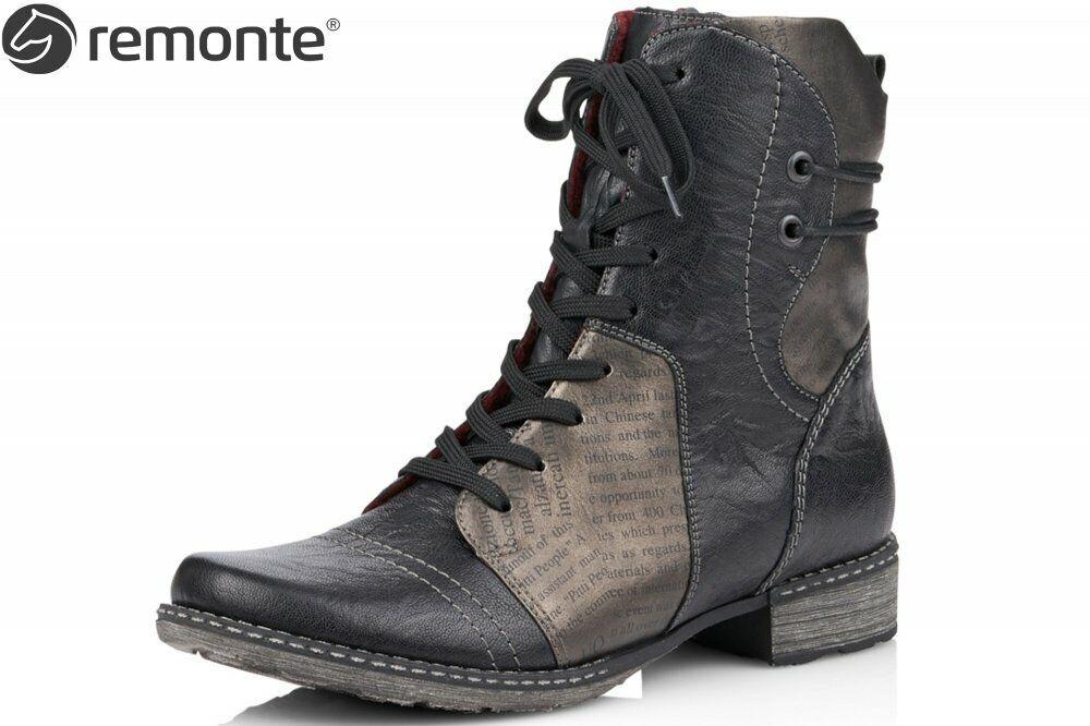 Remonte Damen Stiefelette Schwarz Schuhe Stiefel Leder D4366-01