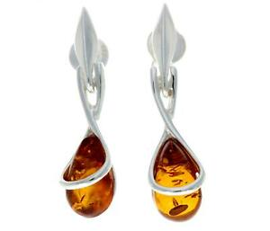 CERTIFIED-BALTIC-AMBER-925-STERLING-SILVER-Modern-Teardrop-Earrings-GL151