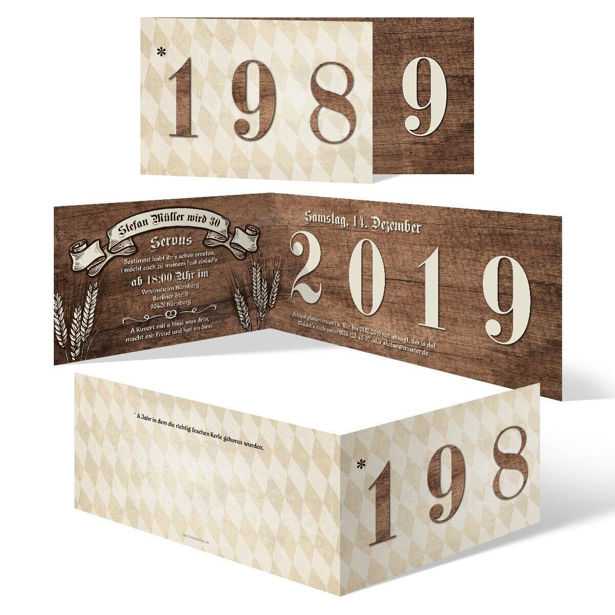 30. Geburtstag Einladungskarten individuelle Einladungen - Bayerisches Holz