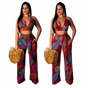 Women Stripes Print Bandage Crop Tops Long Loose Wide Legs Pants Jumpsuits 2pcs
