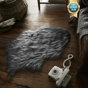 Grey Faux Fur Rug SheepSkin Fluffy Mat Cosy Soft Feel Bedroom Floor Comfy Carpet