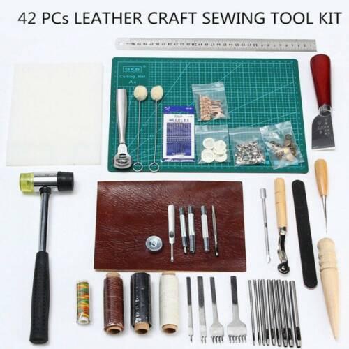 62-tlg Leder Handwerk Werkzeug Set Lederhobel Nähen Stitching Stanze Schnitzen
