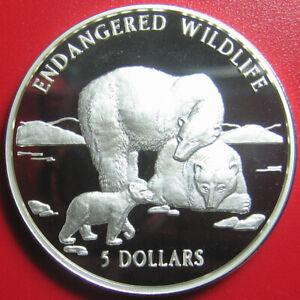 1996-COOK-ISLANDS-5-SILVER-PROOF-POLAR-BEAR-amp-CUB-ENDANGERED-WILDLIFE-RARE-COIN
