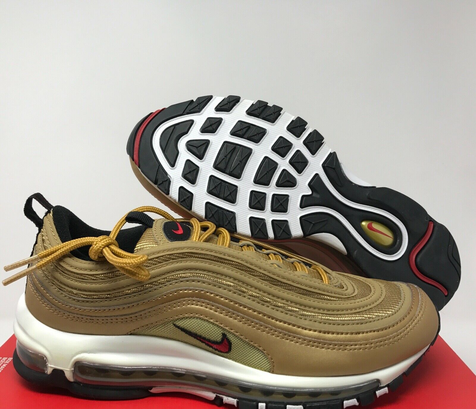 Nike Air Max 97 OG QS Am97 Metallic Gold Olympic 884421 700 Shoes Size 8