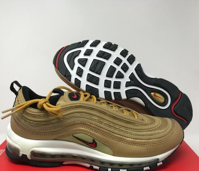 designer fashion 93488 30b34 NIKE MEN AIR MAX 97 OG QS METALLIC GOLD -VARSITY RED SZ 10.5 884421