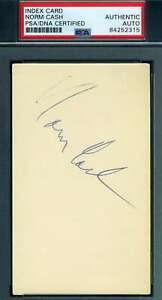 Norm Cash PSA DNA Coa Autograph Hand Signed 3x5 Index Card