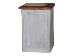 Shabby chic portafiori comodino sgabello scatola bianco metallo