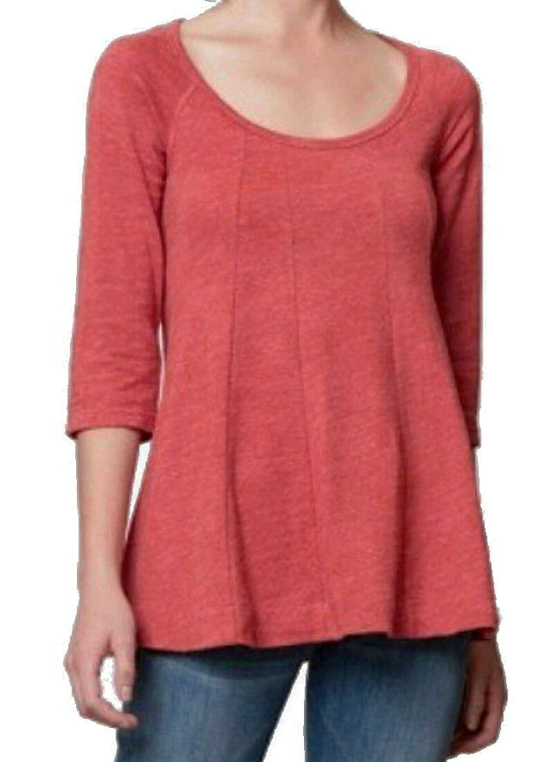 Anthropologie Swing the Seams Top XSmall 0 2 Orange Cotton Tee Shirt Deletta NWT