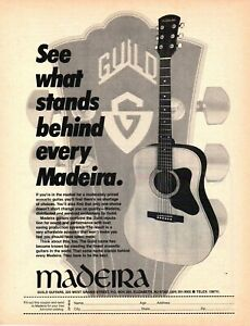 vtg 80s MADEIRA GUITARS by GUILD MAGAZINE ADVERTISEMENT Pinup Page Acoustic