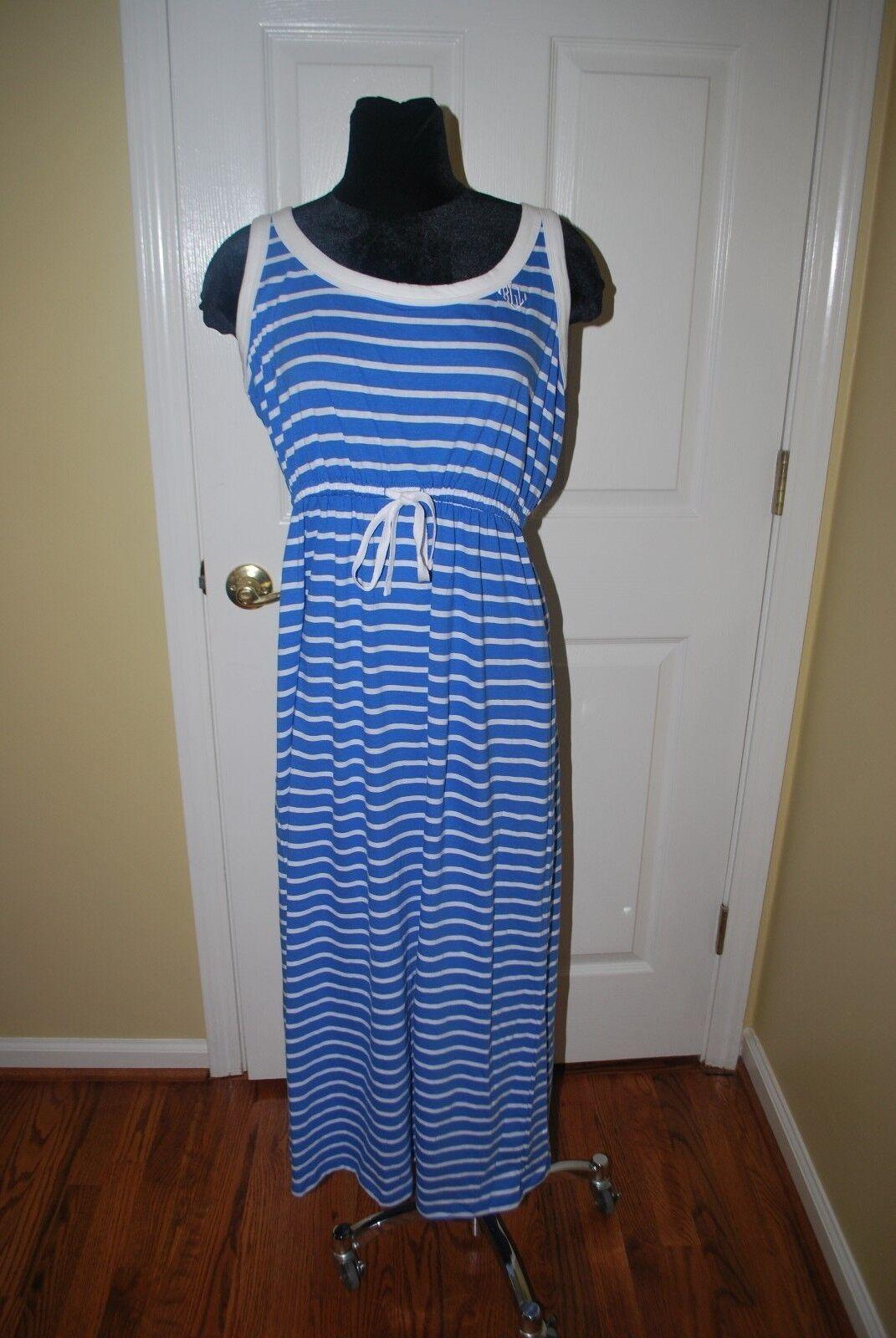 LAUREN RALPH LAUREN COTE D'AZUR blueE WHITE STRIPE SWIM COVER UP DRESS SMALL