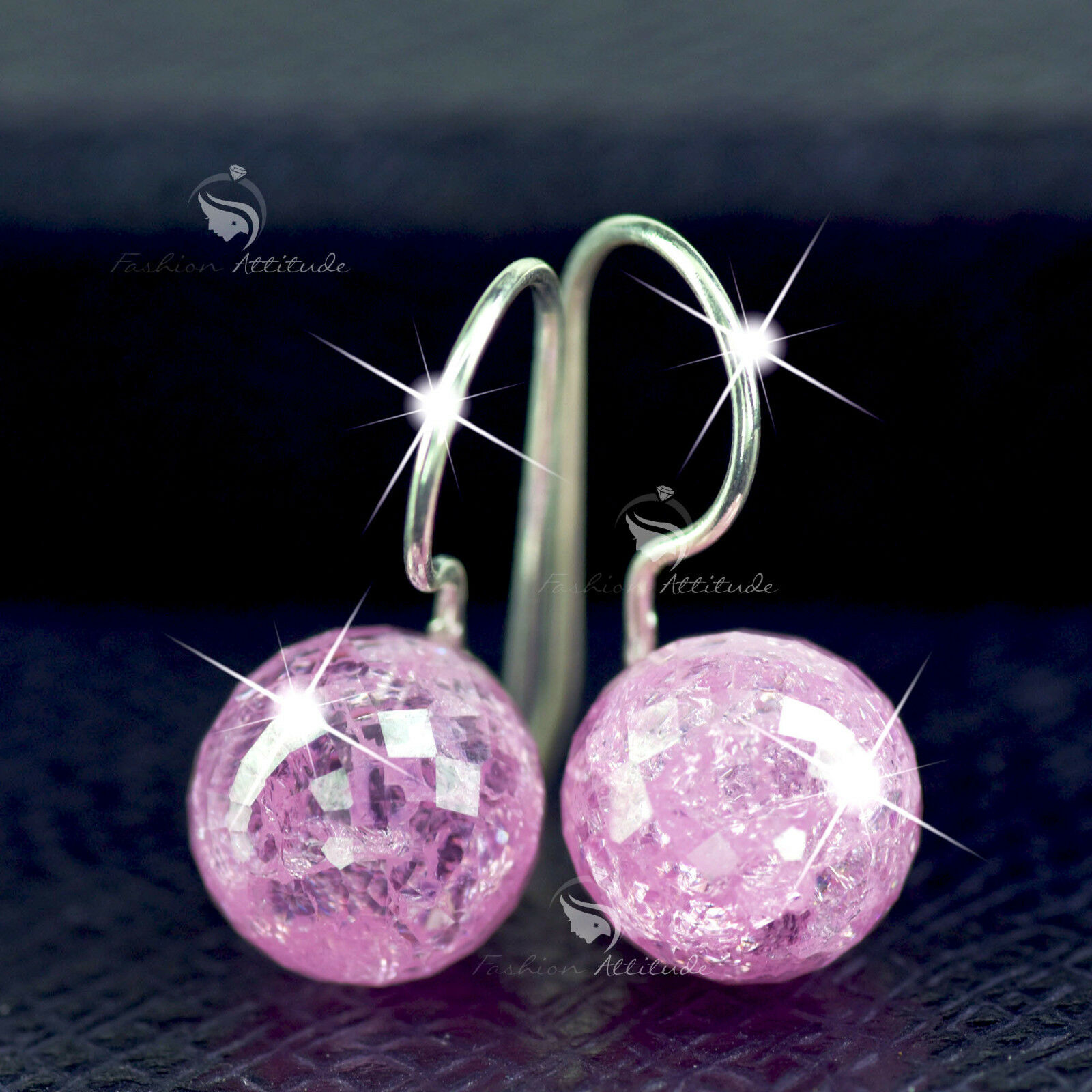 f69064e8b4d63 Details about solid sterling 925 silver 10MM pink natural crystal ball drop  hook earrings