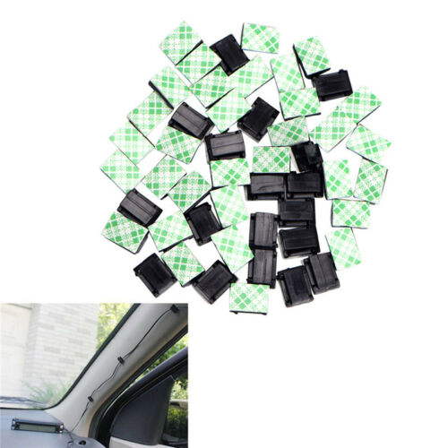 50x Wire Clip Black Car Tie Rectangle Cable Holder Mount Clamp self adhesive RF