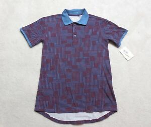 New-Lularoe-Bud-Polo-Shirt-Mens-Extra-Small-Maroon-Blue-Top-Adult-Rugby-Casual