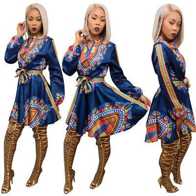 Women Sexy Long Sleeve African Totem Print Belt Clubwear Casual Mini Dress