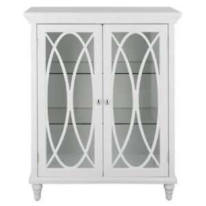 Florence Floor Cabinet With 2 Glass Doors In White For Bathroom