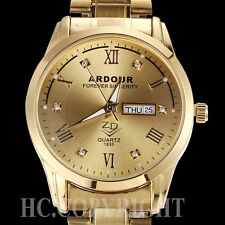 Men's 18K Gold Plated Stainless Steel Big Dial Roman Number Time Wrist Watch