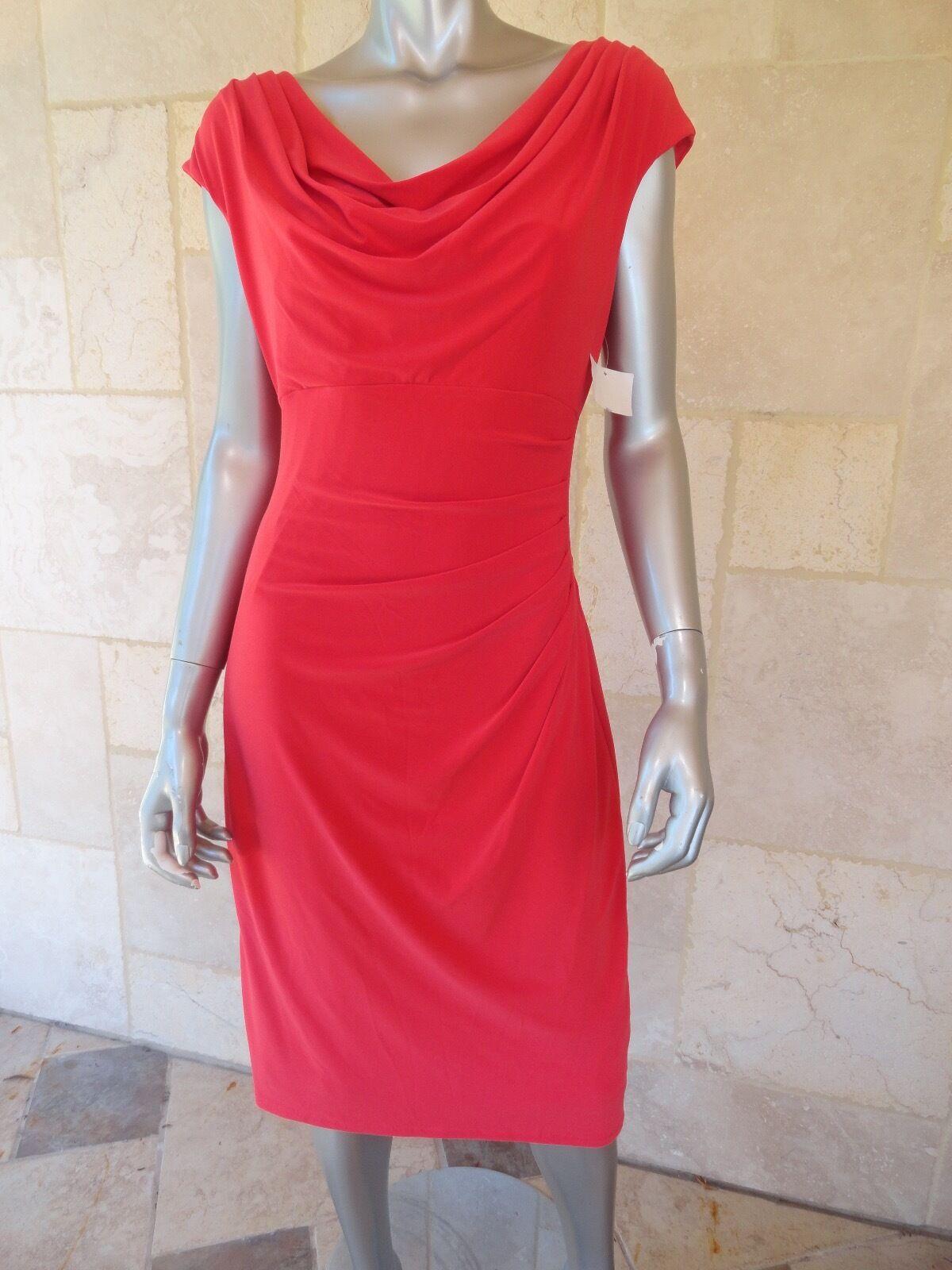 LAUREN RALPH LAUREN Rosa rot Jersey Cowl Knee-Length Wear to Work Dress Sz14