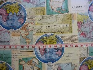 Map of the world vintage cartography david textiles cotton quilting image is loading map of the world vintage cartography david textiles gumiabroncs Gallery
