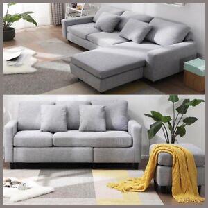 L Corner Sofa Designer Sofa Matching Footstool,Linen Fabric Durable ...