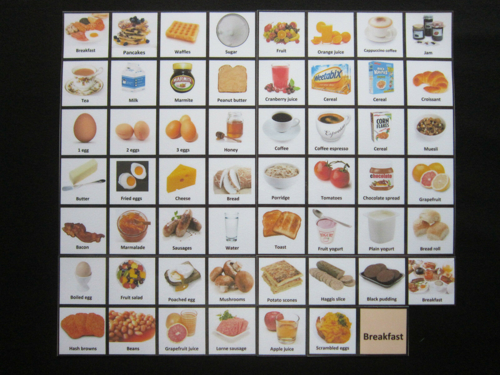 Breakfast Cards - Autism ADHD PECS Non verbal Early Yrs Visual Aid Dementia EASL