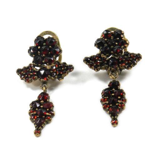 Antike Granat Ohrringe Böhmischer Granat Ohrclips  um 1880 Garnet Earrings