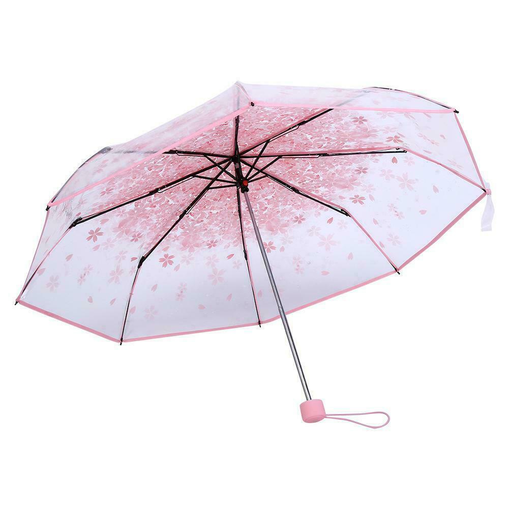 Transparent Clear Folding Umbrella Cherry Blossom Mushroom Sakura Umbrella