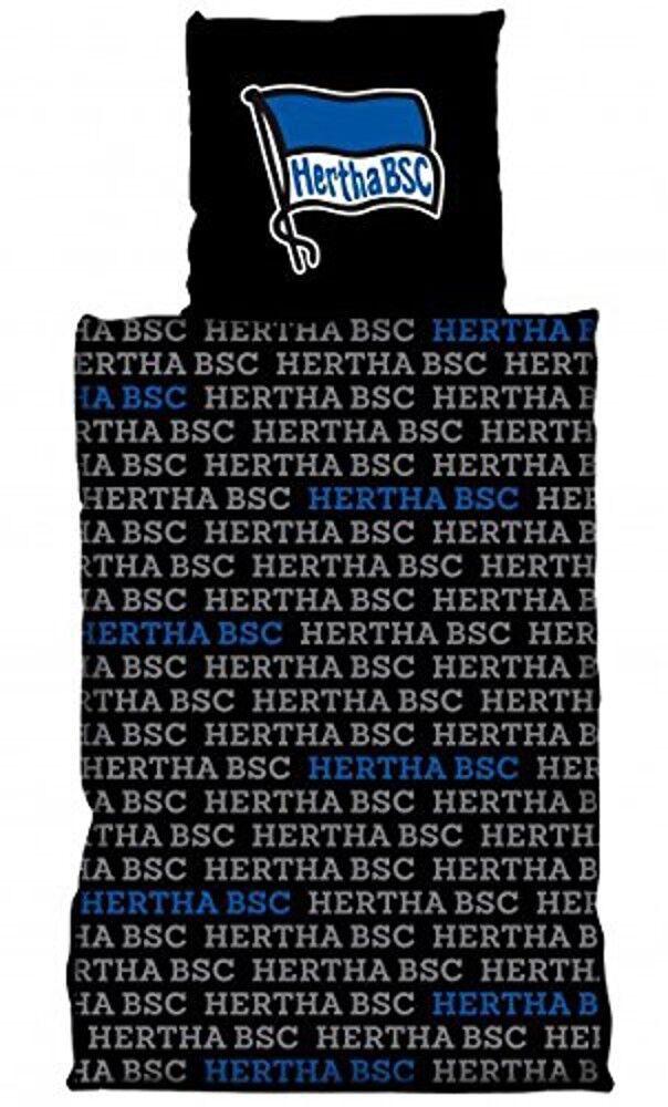 Hertha BSC BSC BSC Bettwäsche Schriftzug, Hertha Berlin 135 x 200 cm, 100% Baumwolle 014ce3
