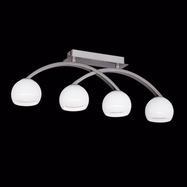 Wofi Deckenleuchte Lynn 4-flg Nickel Glas Kugel weiß 132 Watt 1840 Lumen Lampe