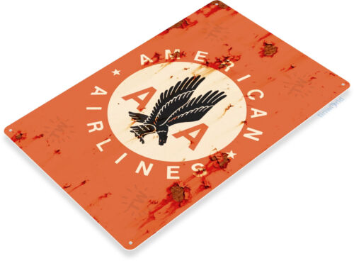 TIN SIGN B332 American Airlines Retro Rust Airport Flying Aviation Commercial