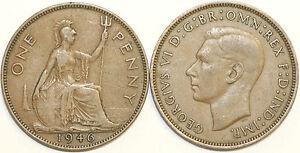 1937-To-1949-George-VI-Bronze-Penny-Votre-Choix-de-Date-annee-Multibuy