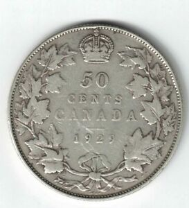 CANADA-1929-50-CENTS-HALF-DOLLAR-KING-GEORGE-V-800-SILVER-CANADIAN-COIN