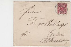 Germany 1891 Stamps Cover to Essen Oldenburg  Ref 23263